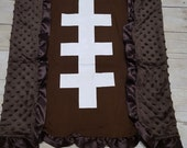 Minky and Cotton Baby Blanket, Personalized baby blanket, Football blanket with ruffles