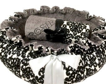 Dog Bed, Pet Bed, Personalized Dog Bed, Gray Damask and Gray Minky Dog Bed, Dog Pet Bed And Blanket Set