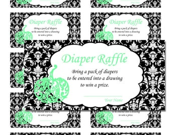 50 Mint Blue Little Pumpkin Black Damask Halloween Baby Shower Game Diaper Raffle Tickets - Any Color