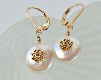 Coin Pearl Earrings . Wedding Jewelry . 11 mm