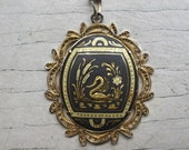 Vintage Damascene swan pendant with filigree border