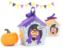 DIY Halloween Owl House Treat Box, Printable Gift Box, DIY Halloween Party Favors, Halloween Printables, Paper Crafts, Instant Download