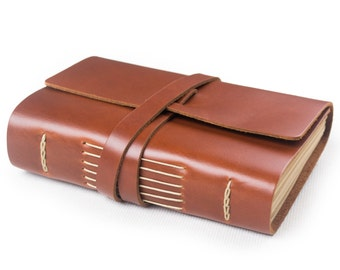 Simple Classic Leather Journal Diary with Strap A6 Blank Lined Craft Paper Handmade Small Plain Red Brown with Gift Box
