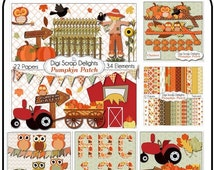 50% OFF TODAY Pumpkin Patch Fall Clip Art, Autumn Owls, Farm, Hay Ride, Barn, Tractor, Digital Scrapbook Kit Scarecrow, Crows, Birthday Teac