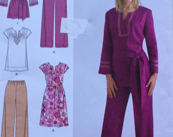 uncut nos printed sewing pattern//women's dress or tunic and pants in two lengths by Simplicity--sizes 20-28