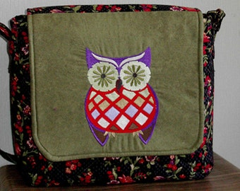 Fashionable quilted messenger bag with owl embroidery, by Florence