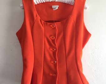 Vintage Bold Bright Orange Fitted Top