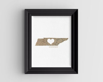 "Tennessee State Digital Art Print - INSTANT DOWNLOAD - Vintage Map - 8"" x 10"" and 5"" x 7"""