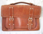 Vintage Bag ~ Leather Attache Case with White Stitching ~ Unisex Design ~ Flap fold over Tote ~ Silver tone Metal Buckles
