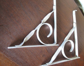Aluminum Shelf Brackets, Pair, Strong, Lightweight, Mid-Century, 1950s, Indoor, Outdoor