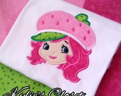 Sweet Strawberry Shortcake-inspired Embroidered T-shirt - Birthday - Party - Theme - Gift - Girls - Pink - Top - Handmade - High Quality