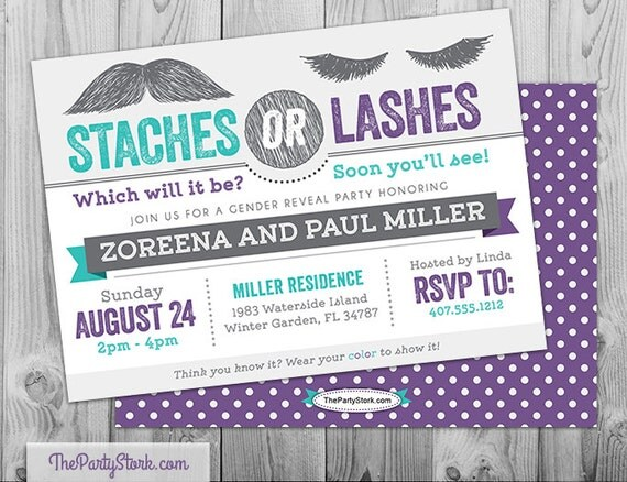 Gender Reveal Party Invitations Printable Staches Or Lashes