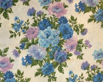 Vintage Blue and Purple Floral Cotton Fabric 2 Yards