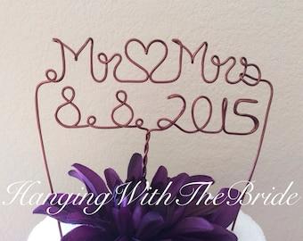 Custom Cake Topper - Wedding Cake Topper, Mr & Mrs,Wire Cake Topper, Personalized Cake Topper, Unique Wedding Gift