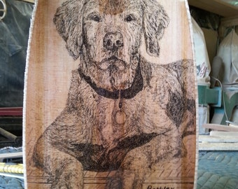 """Wooden Canoe Paddle, Western Red Cedar """"Simplicity"""" with Original Pen & Ink Drawing of Barkley"""