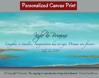 Personalized wedding gift unique, Sayings, Song lyrics, Poem, Aqua artwork, Coastal beach decor, Teal blue Canvas quote wall art, Seascape