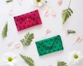 Leather Card Holder, Leather Wallet, Minimalist Wallet, Best Leather Wallets, Envelope Coin Purse in Polka Dots made with Suede  →TOTAMA←