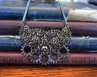 Steampunk Jewelry, Steampunk Necklace, Gear Jewelry, Filigree Necklace, Statement Jewelry, Bib Necklace, Patina jewelry, Victorian Jewelry
