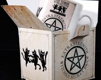 Witches brew black cats ceramic mug