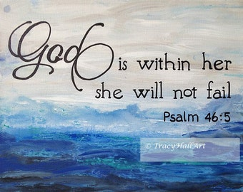 "Scripture Art God is within her Bible verse PRINT Seascape Blue Aqua Black 8"" x 10"""