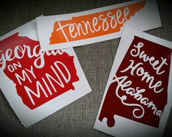 Georgia on my mind state decal vinyl sticker for yeti cup, laptop sticker car decal