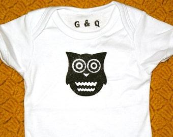 Black & White Owl Baby Onesie