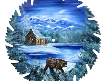 Hand Painted Saw Blade Mountain Mountain Winter Brown Bear  SALE