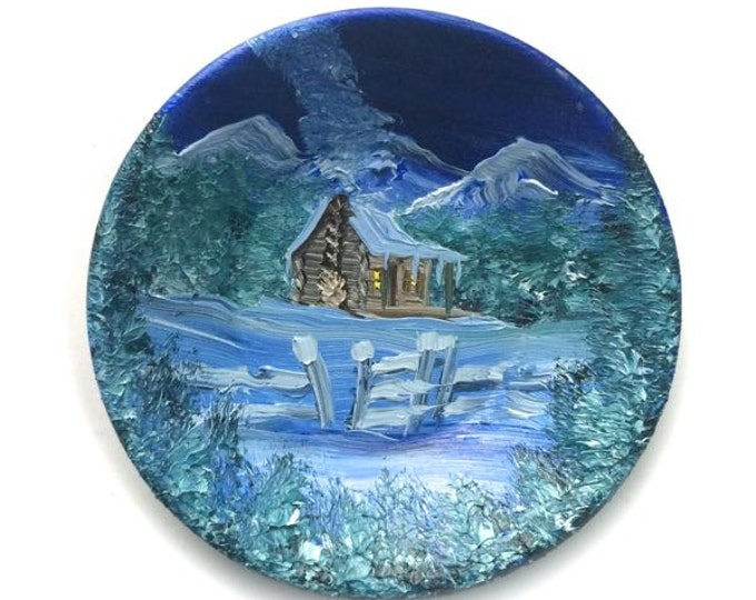 Hand Painted Miniature Miniature Gold (2 3/4 Inch) Pan Magnet Winter Cabin