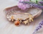 Outlander Inspired Celtic Bracelet Gold Charm Bangle Bracelet Swarovski Amber 'Dragonfly'