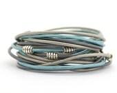Metallic Blue Boho Hippie Bracelet, Silver Gray Blue Wrap Bracelet, Sapphire Gray Bracelet, Minimalist Yoga Bracelet