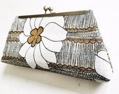 Clutch, Evening Bag, Purse, Gold, White, Black Vintage Floral Fabric Framed, Gold Flecked, Recycled fabric, upcycled, remnant