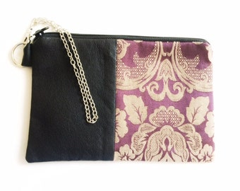 Recycled Leather and Fabric Wristlet, OOAK Purple Damask Pattern, Upholstery Remnant, Lined,