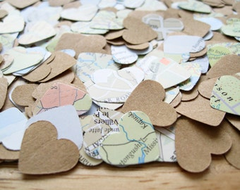 2000 Map Kraft Confetti Heart Mix - Wedding Travel Vintage Decor - Heart Die Cut