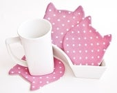 Pink Drink coasters, Polka Dots Сoaster, Cat Coasters for cups, Cat Lover Gift, Barware, Pink Kitchen Decor, Valentine's Day Gift
