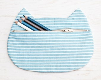 Blue Cosmetics Striped Cosmetic Bag Cat Pencil Case Bridesmaid Gift Bridesmaid Gift Bag Beauty Bag Makeup Pouch