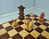 "Chess Board -Handmade (Curly Maple, Black Walnut and Red Heart)  10 x 10.75"" board (chess pieces not included)"