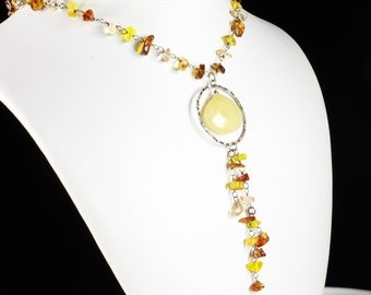 Calcite Topaz Necklace, Sterling Silver, cognac champagne gemstones, fine necklace, Smoky Topaz, Rutile Quartz, gift for her, NL1531