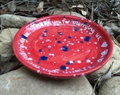 Thank for marrying us, marriage gift, pastor gift, priest gift, minister gift, officiant gift, ceramic plate, red dish, carved pottery