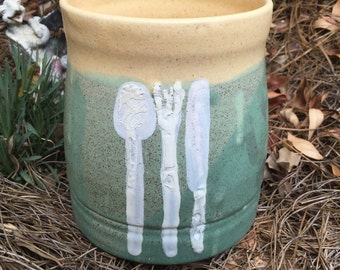 Green and beige Vase/ Utensil Holder, vase, utensil holder, centerpiece, green, tan, knife,fork, spoon, white