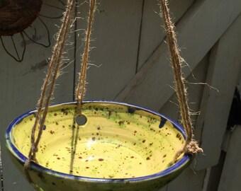 Hanging Bird Feeder, bird feeder, green ceramic, pottery, hanging