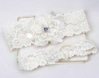 Something blue garter set, wedding garter set, wedding garters, ivory lace garter set, bride garter belt, keepsake garter, toss garter