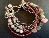 RESERVED honeypine 1 labradorite garnet strand added to ewa lompe bracelet