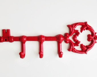 Shabby Chic Skeleton Key. Red Victorian Key Hook. Rustic Towel Hanger. Flea Market Style. French Country Kitchen. Jewelry Organizer