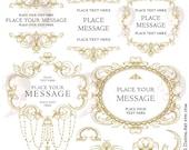 Vintage Frame Clipart Antique Gold Baroque Flourish Swirls Ornamental Decoration Digital Border DIY Wedding Scrapbook Craft Supply 10672