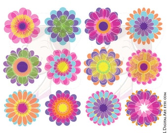Floral Vector Flower Graphics Clipart Spring Flowers Clip Art Png Files Scrapbook Craft Supplies Instant Download COMMERCIAL USE 10668