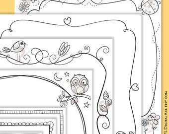 Scrapbook Pages Borders 12x12 Whimsical Square Frame Clipart Cardmaking Whimsy Designs Birds On A Branch Flower Ladybug Doodle Clipart 10515