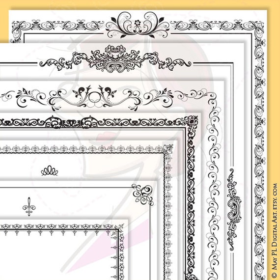 Page Borders Frames Black 8 x 11 Rectangle Digital VECTOR Decorative Retro French Ornate Borders Design Png Jpeg INSTANT Download 10157