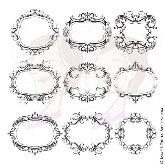 Digital Monogram Frames Flourish Swirl Border Gorgeous Digistamp VECTOR Clipart Classic Wedding Designs Commercial Personal Use 10101