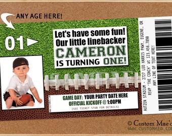 Football Birthday Invitation, Football Birthday Party, Football Party Printables, Football Ticket Invitations, Sports Invite, Printable, DIY