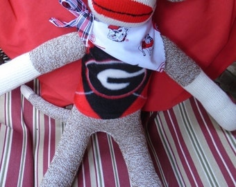 Georgia Bulldogs Football Brown Red Heel  Sock Monkey Doll